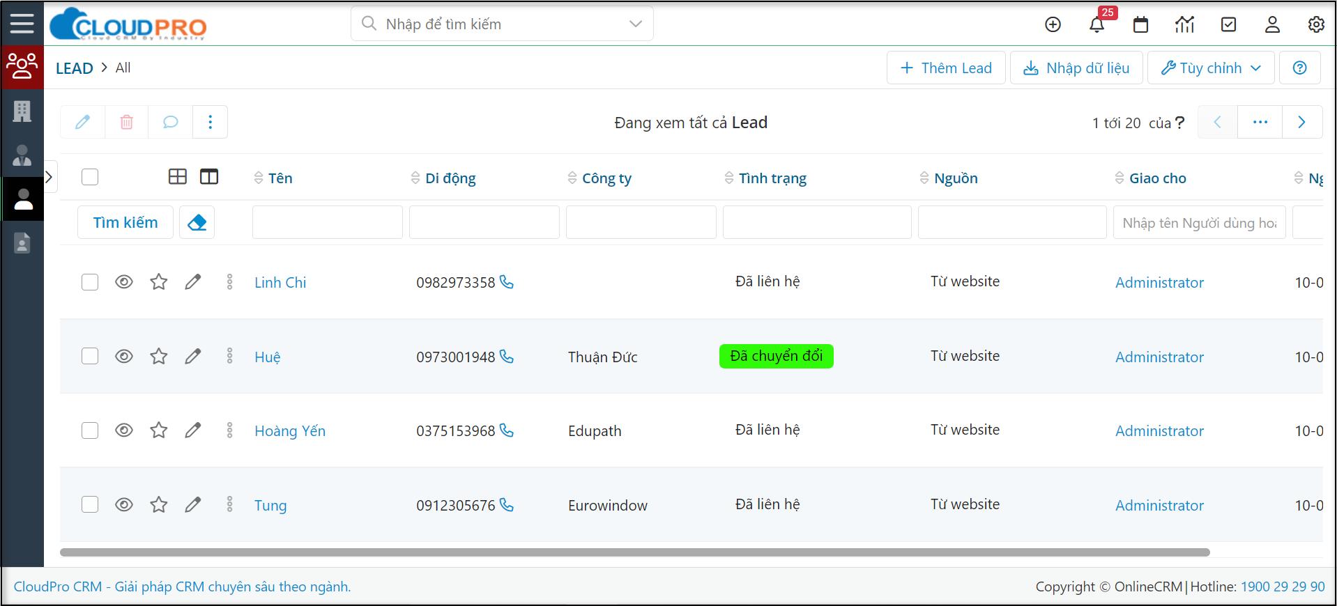 """Ví dụ đây là màn hình danh sách module """"Lead"""""""